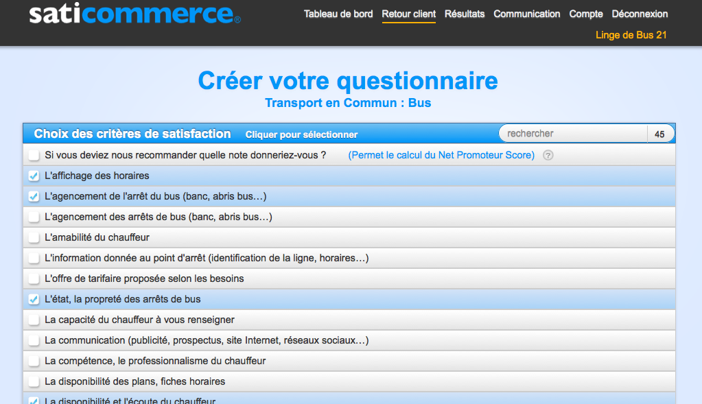 "Très Modele questionnaire satisfaction client ""transport en commun  KV11"