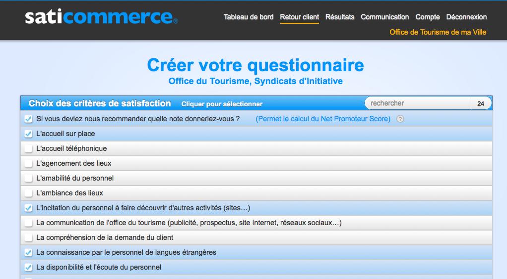 Super Enquete satisfaction client office de tourisme. | SatiCommerce KS96