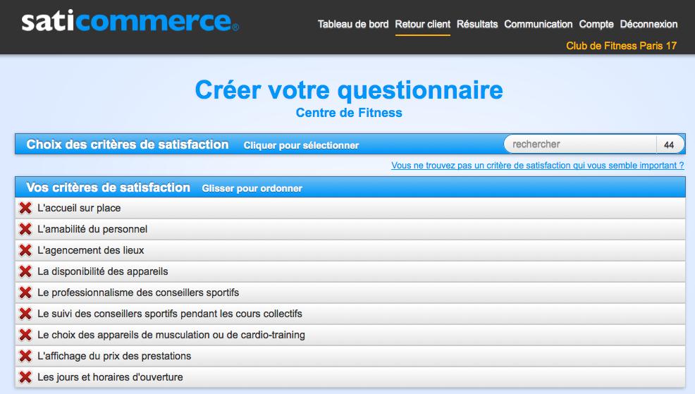 Connu Questionnaire de satisfaction clients club de fitness. | SatiCommerce QA17