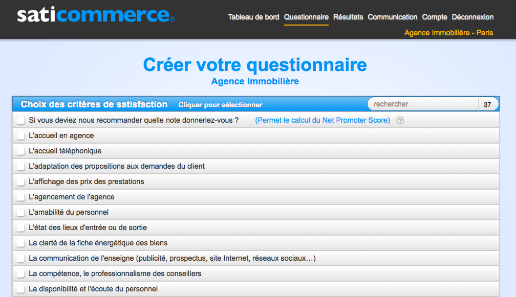 saticommerce propose de nombreux exemples et mod u00e8les de questionnaires pour les agences